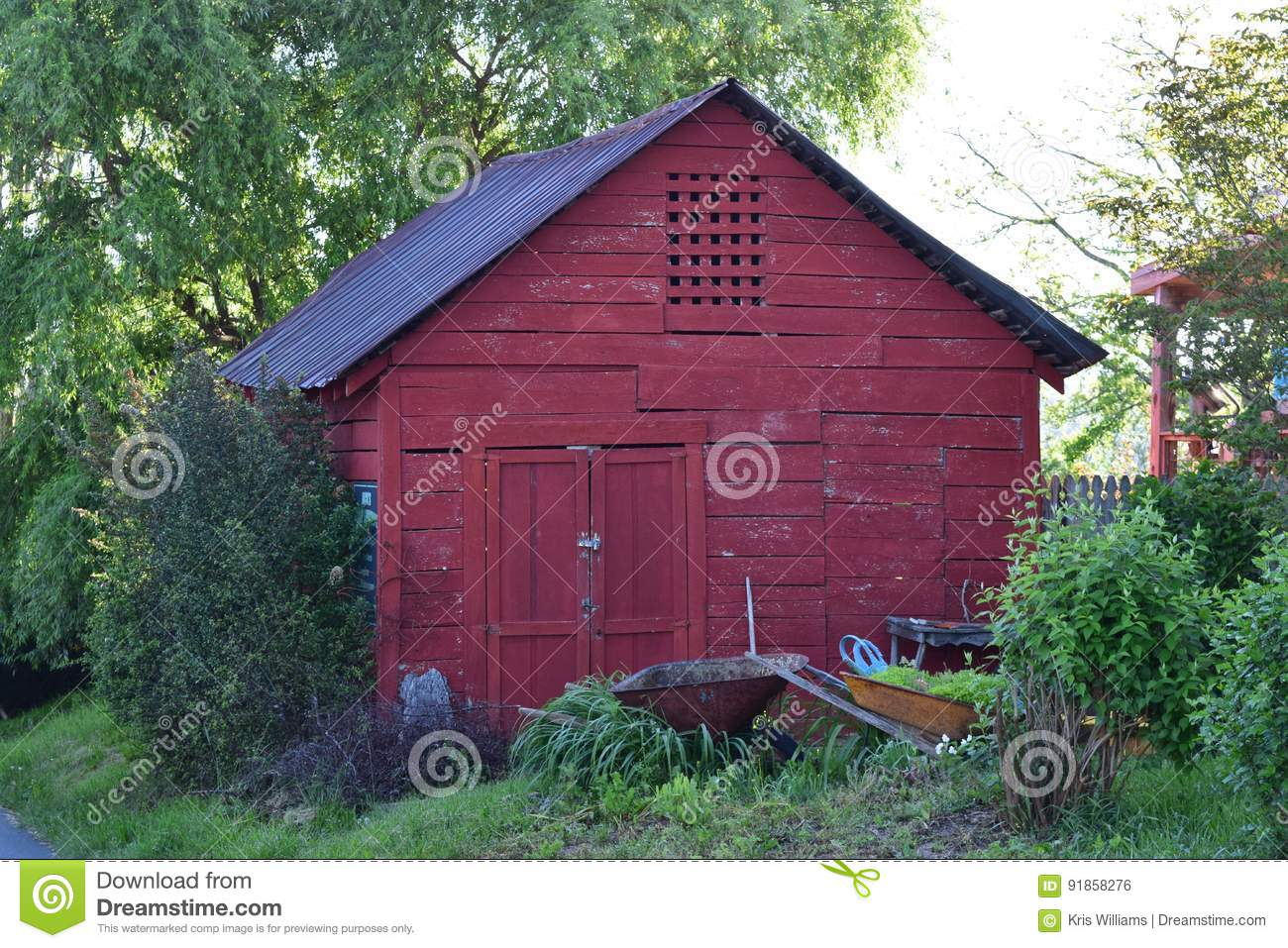 Old Red storage tin roofed barn