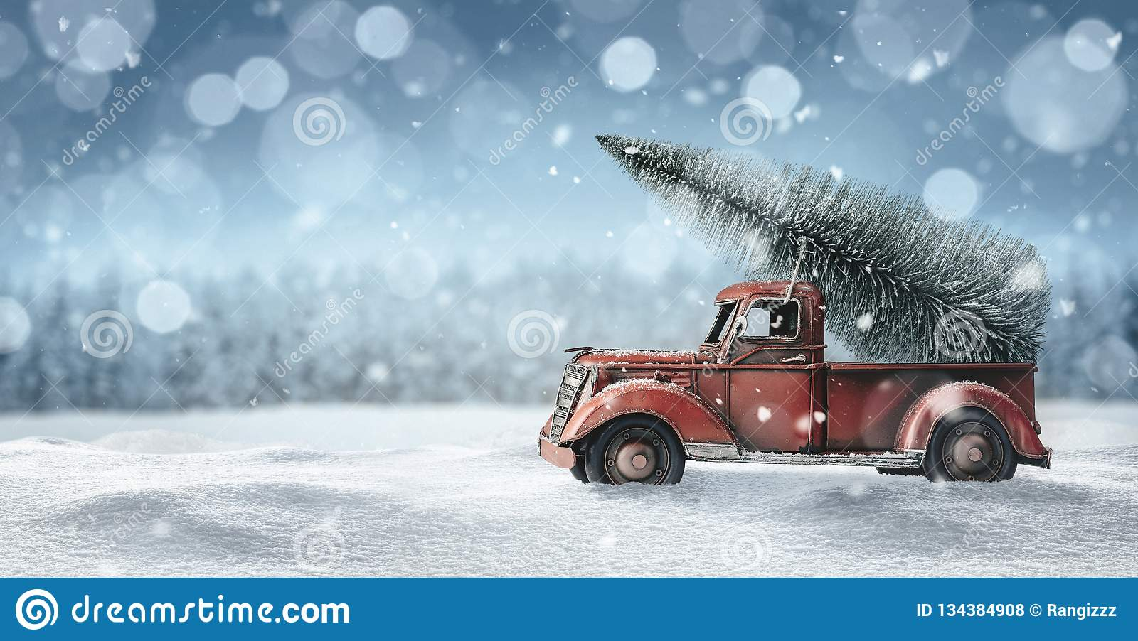 Old Red Truck With Christmas Tree In Back.Old Red Truck With Christmas Tree Stock Photo Image Of