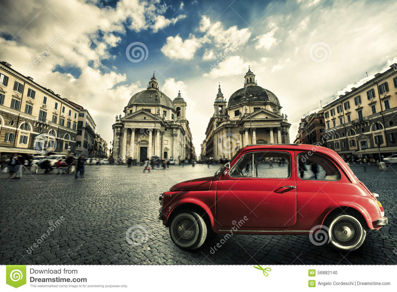 Old Red Vintage Car Italian Scene In The Historic Center Of Rome. Italy Stock...