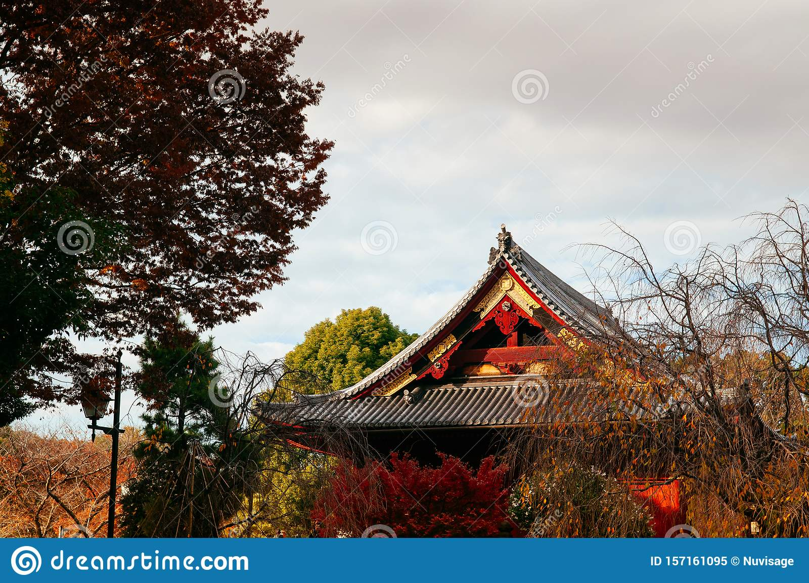 Old red wooden building of Kiyomizu Kannon-do shrine in Ueno park, Tokyo in autumn