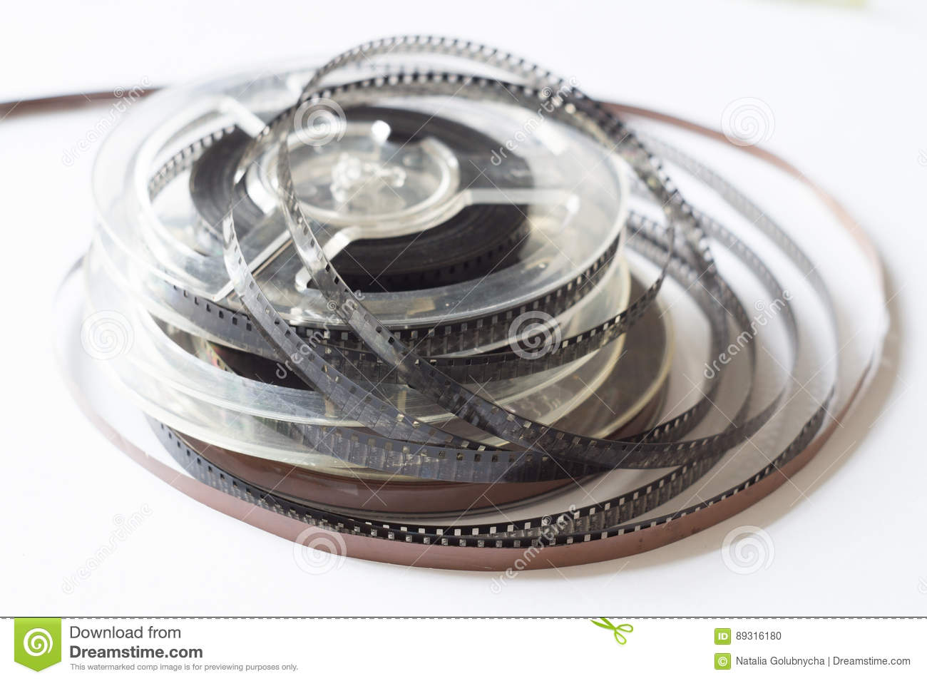 Old reels with black and white film and magnetic tape