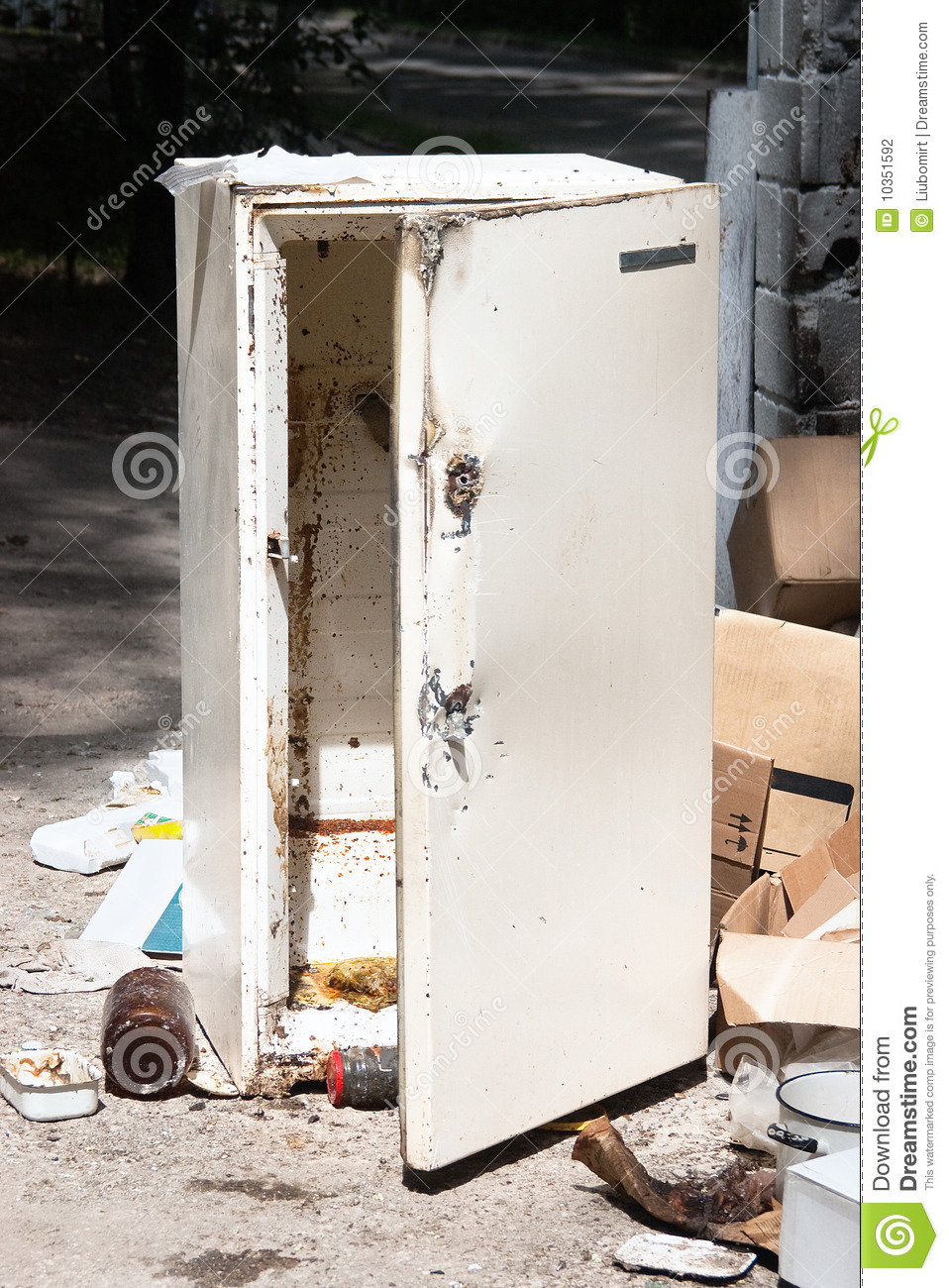 Old Refrigerator At The Dump Stock Photo Image Of Dirty