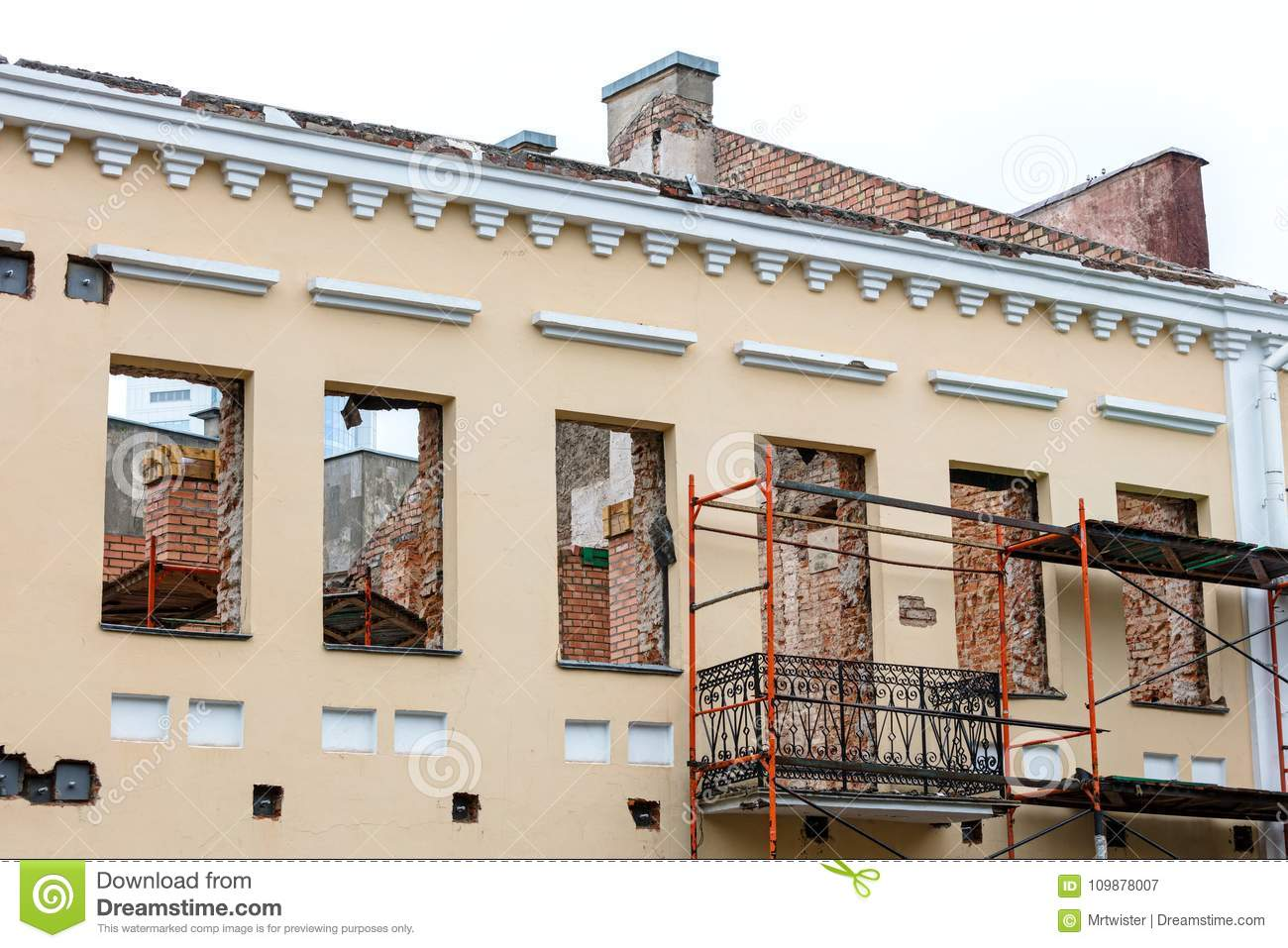 Old residential building under renovation. house reconstruction.