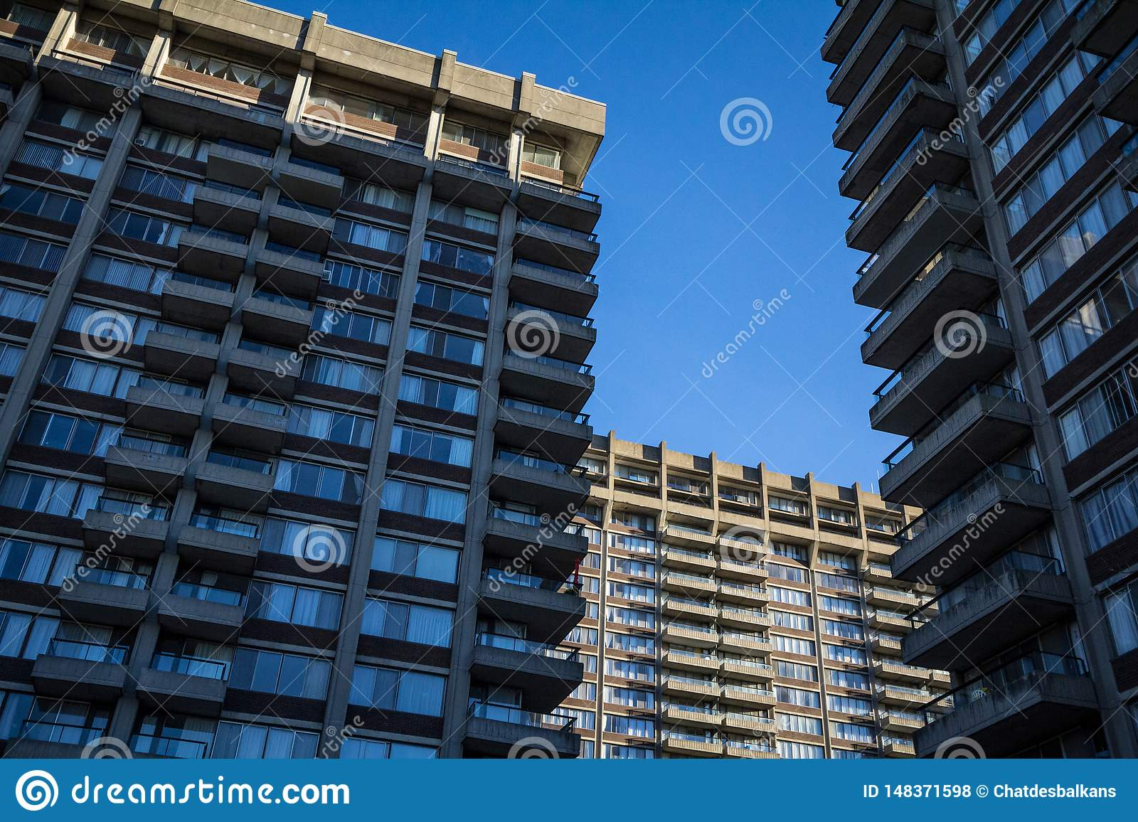 Old Residential High rise towers from North America, typical from the Brutalist Architecture movement called brutalism