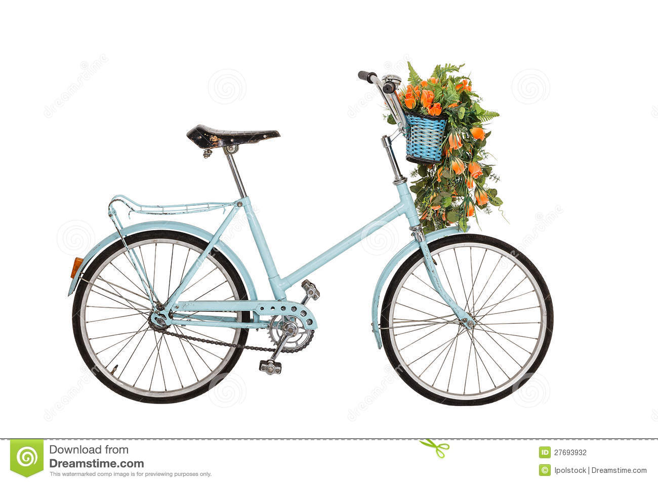 Old Retro Bicycle With Flowers Stock Photo Image 27693932