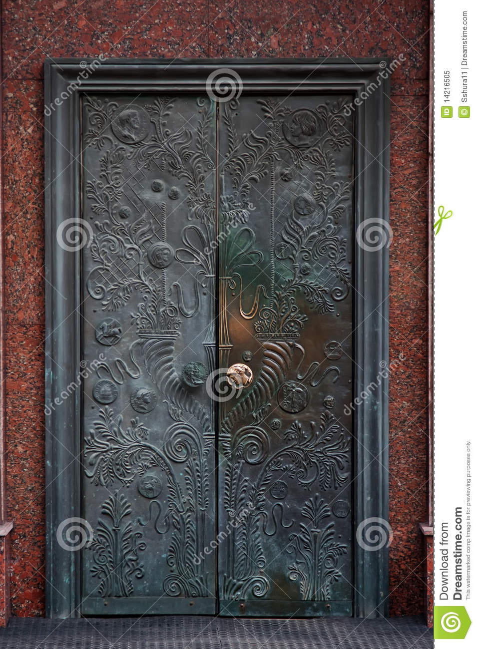 Old retro bronze door & Old retro bronze door stock image. Image of construction - 14216505