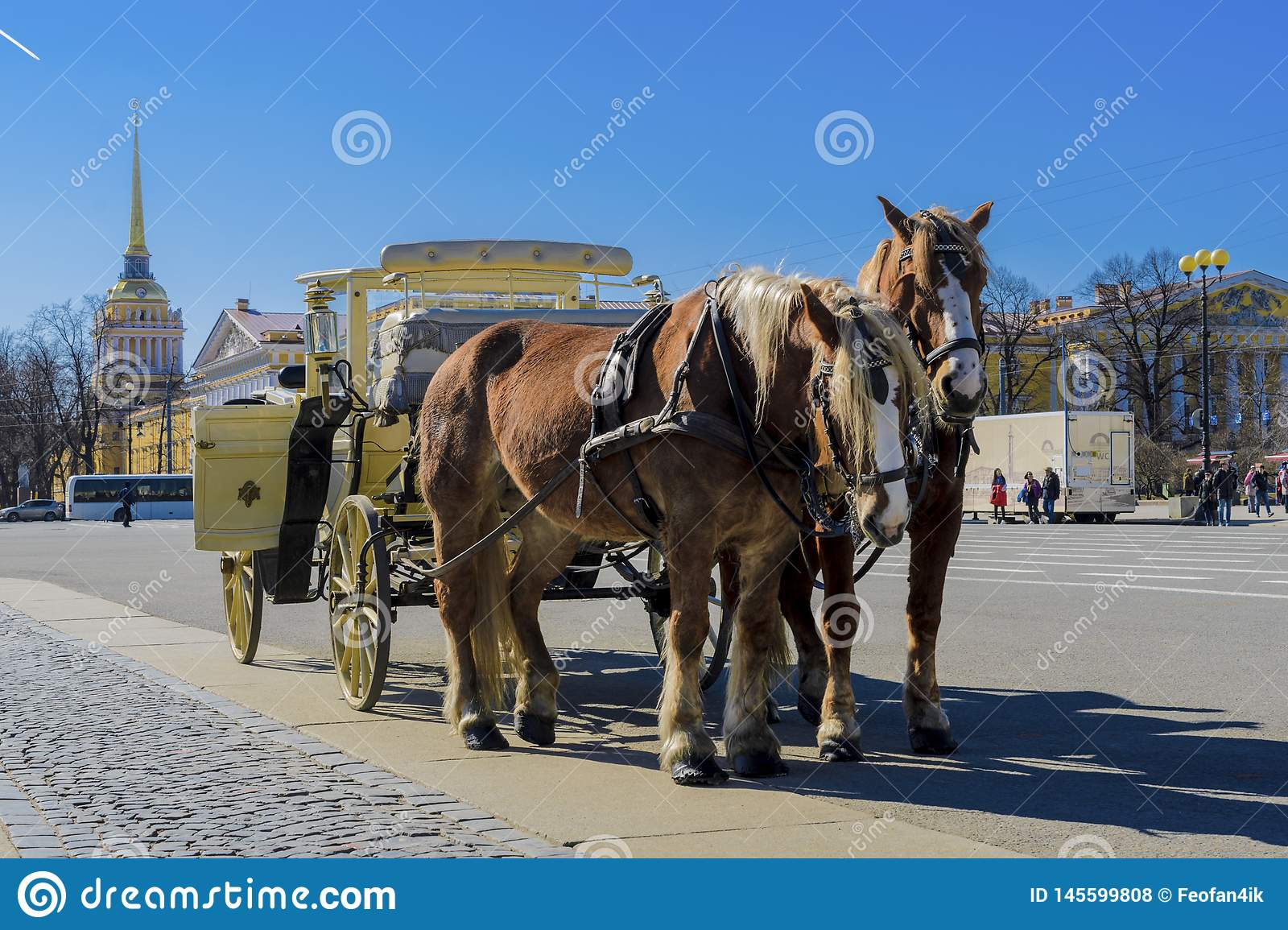 Old Retro Carriage in Front of Winter Palace Hermitage Museum on Palace Square in St. Petersburg, Russia. Historical Old-