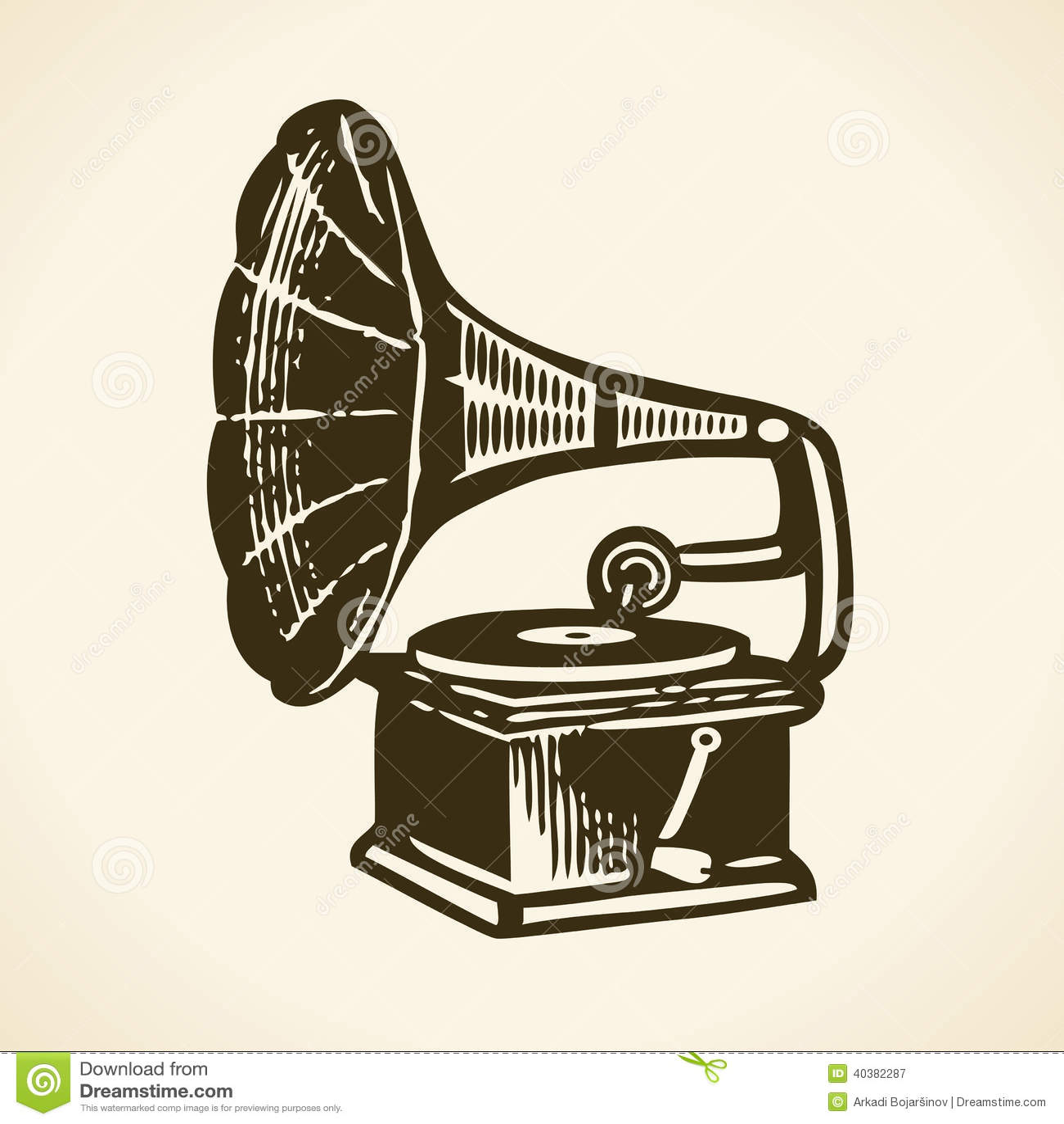 Old Retro Gramophone Stock Vector Image 40382287