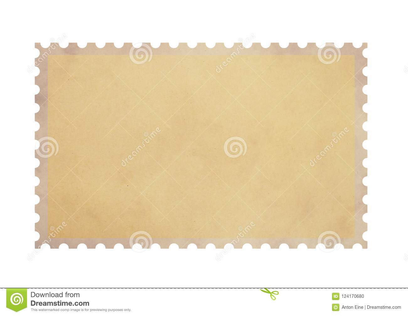 Old blank postage parchment paper stamp on white