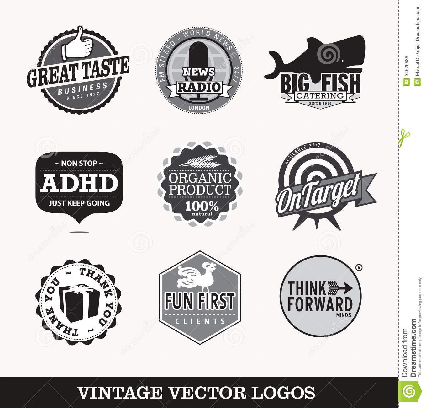 Old retro logos image. giftshop, catering, restaurant, radio station ...