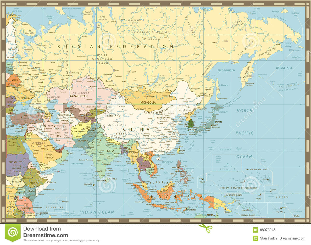 Old Retro Map Of Asia Stock Vector Illustration Of Pakistan 88078045