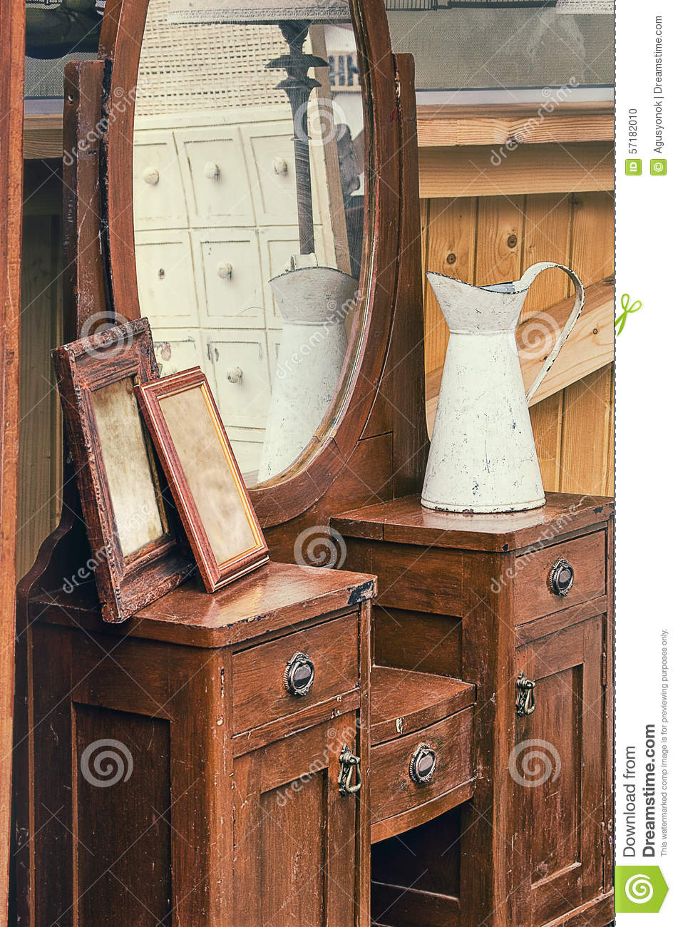 Old retro objects antique dressing table with mirror, framed photographs  and jug - Old Retro Objects Antique Dressing Table With Mirror, Framed