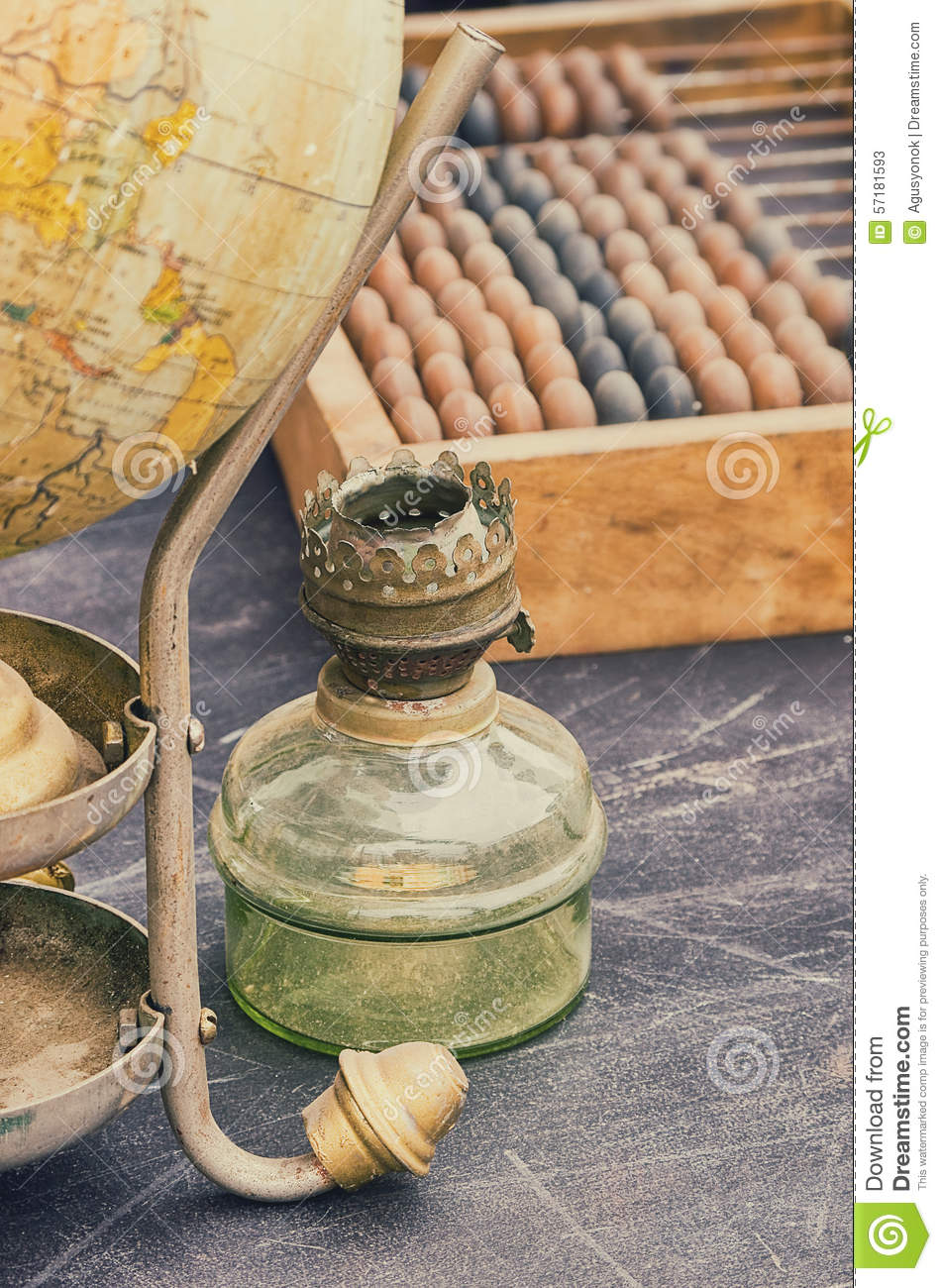 Old retro objects antique globe gas lamps and accounting for Old objects