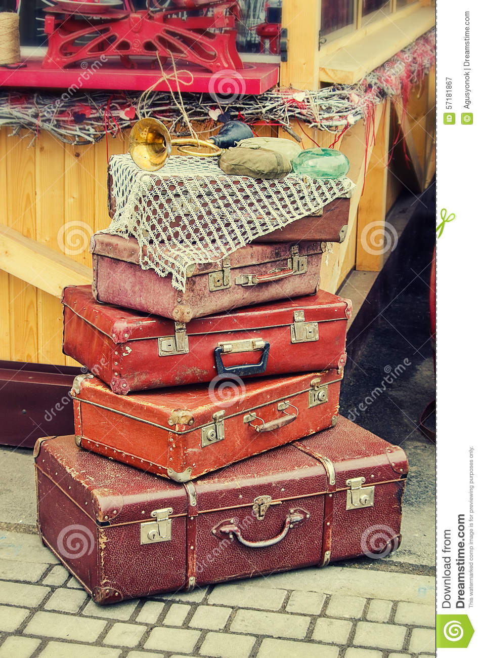 old retro objects antique a lot of luggage valise suitcases stock photo image 57181867. Black Bedroom Furniture Sets. Home Design Ideas