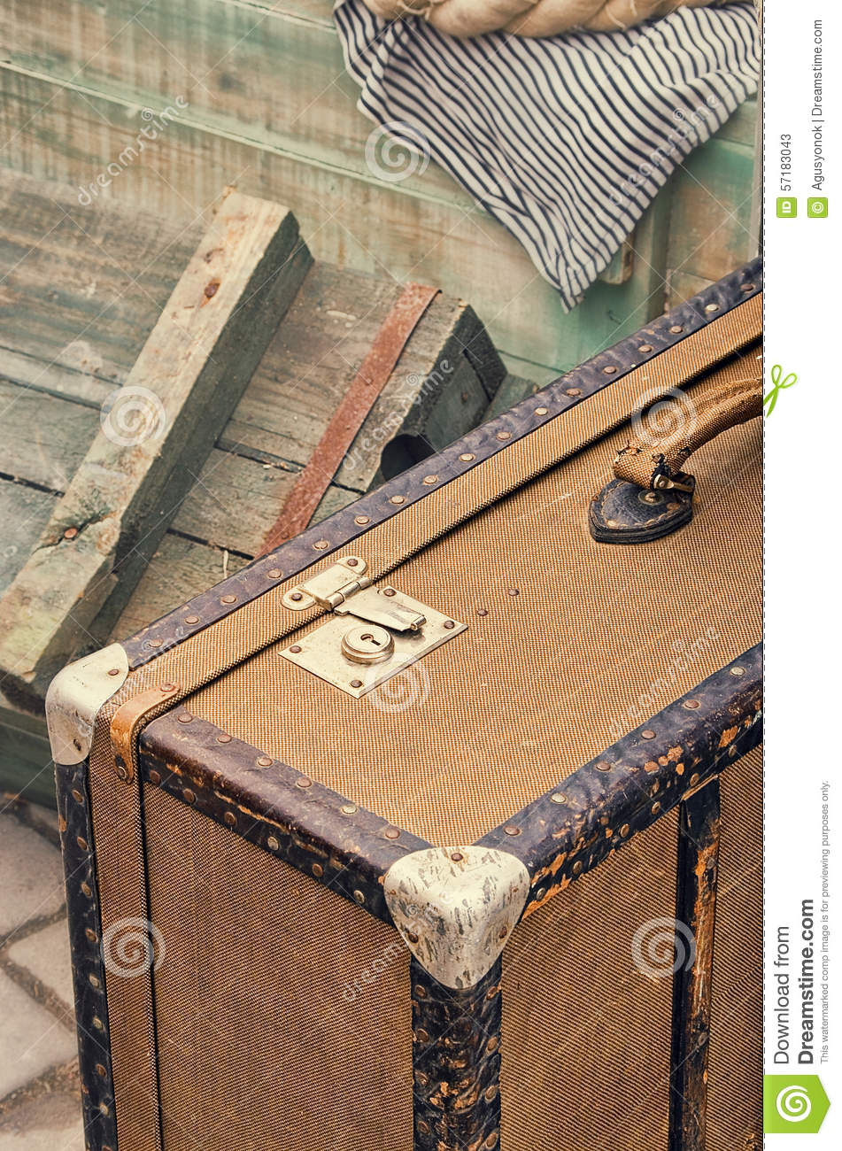 Old retro objects antique of luggage valise suitcases for Old objects