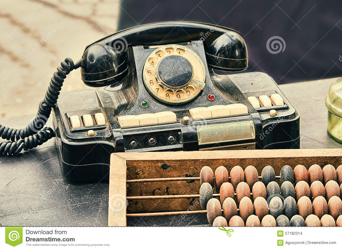 Old retro objects antique phone accounting abacus on for Old objects