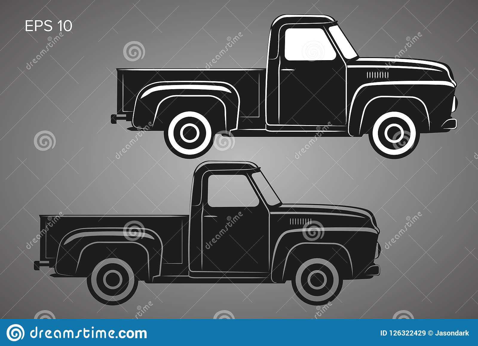 Old Retro Pickup Truck Vector Illustration  Vintage
