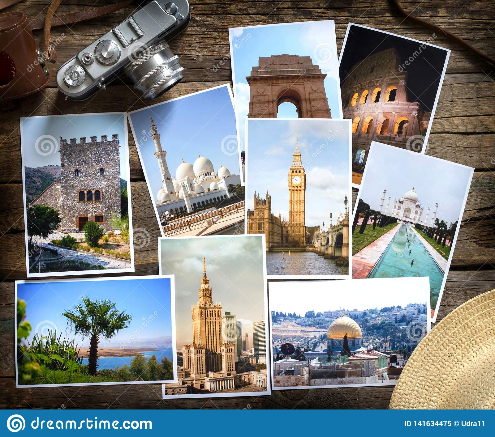 Old retro pictures and camera on wooden table globetrotter photography travel collage concept