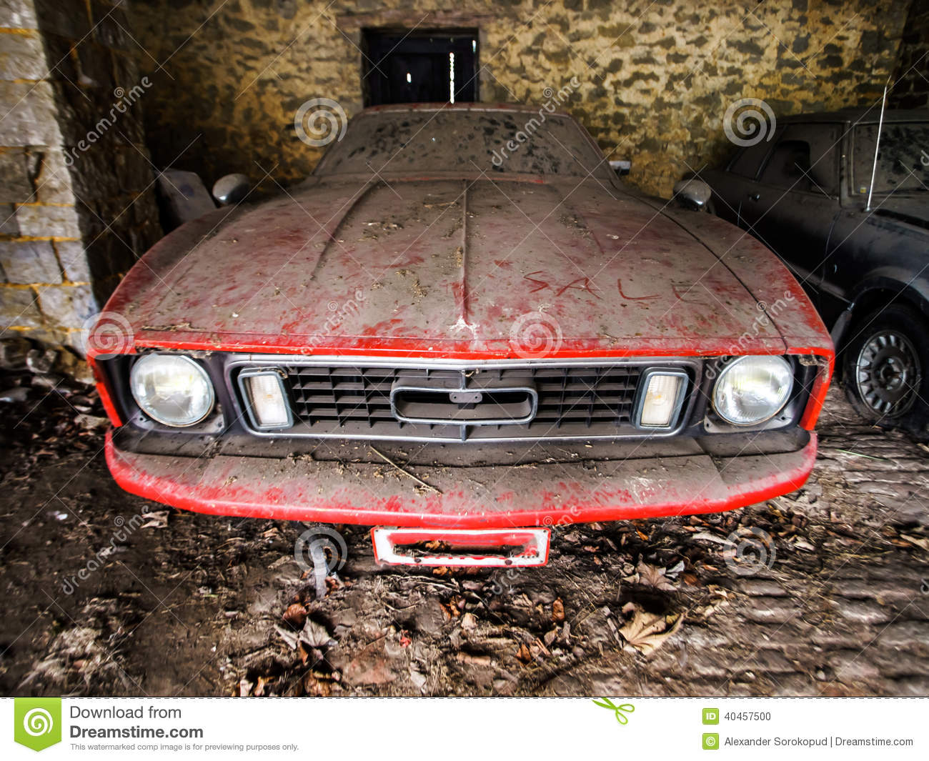Old Retro Rusty Car In Village Garage Stock Photo Image