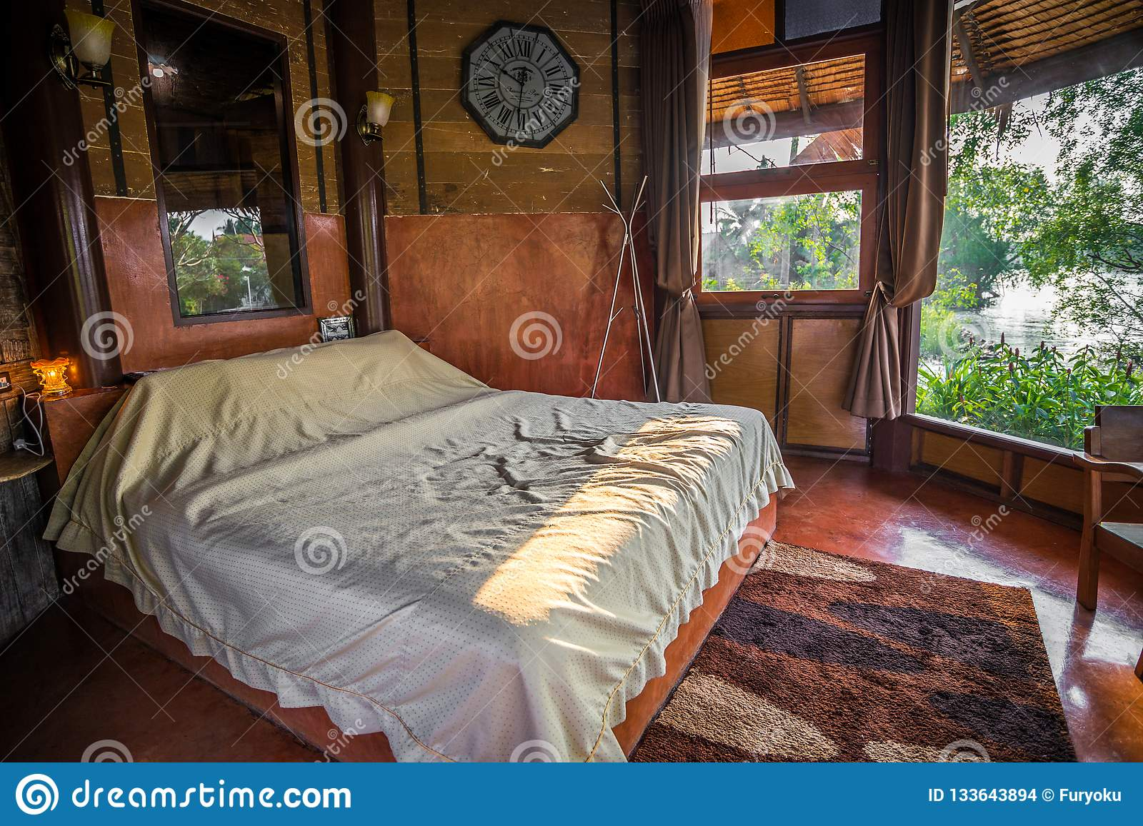 Old Retro Thai Style Of Wooden Bedroom Editorial Stock Image Image Of Mirror Clock 133643894