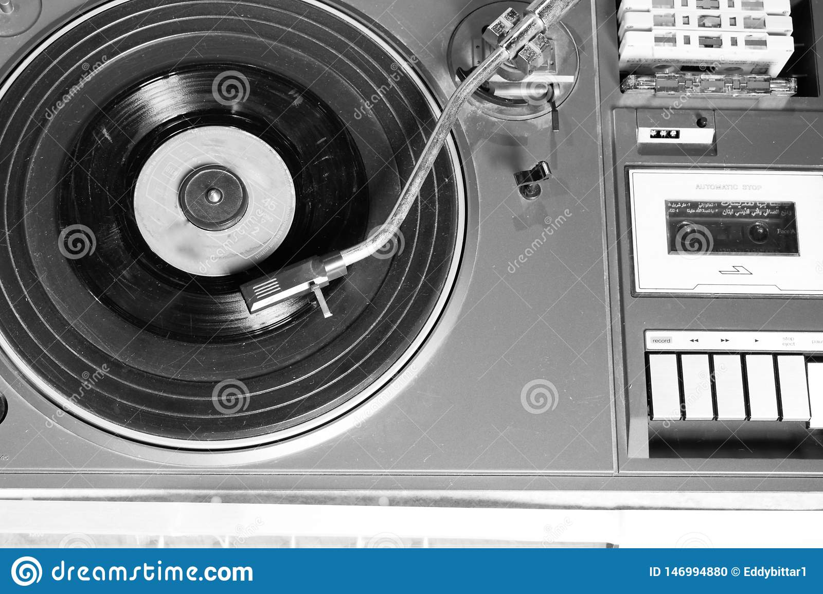 Old and retro turntable player