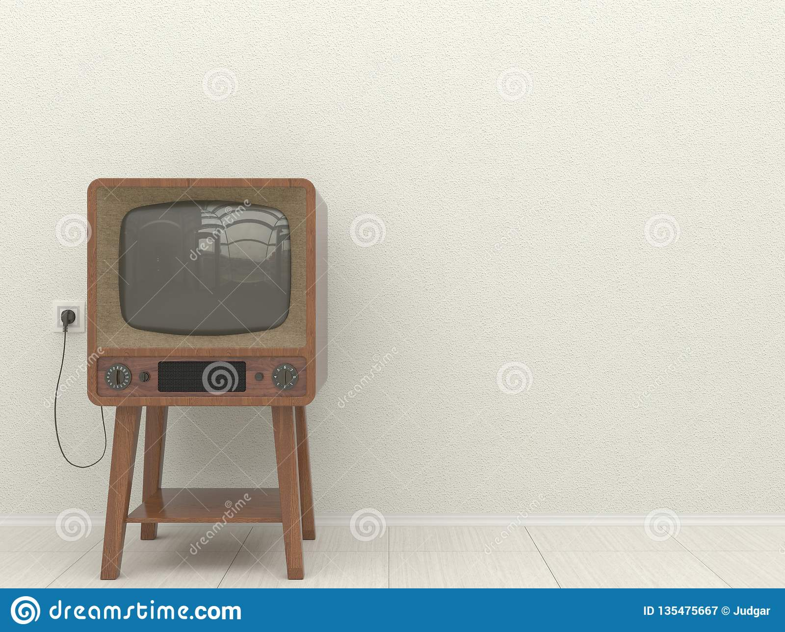 Old retro TV in the interior of a living room on a background of a white plastered wall. Copy space. 3D illustration.