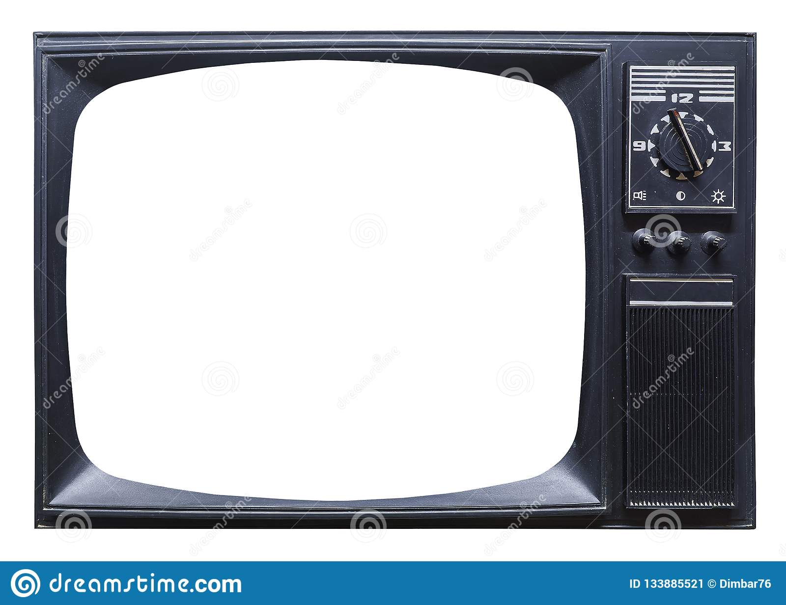 Old retro tv set on white background