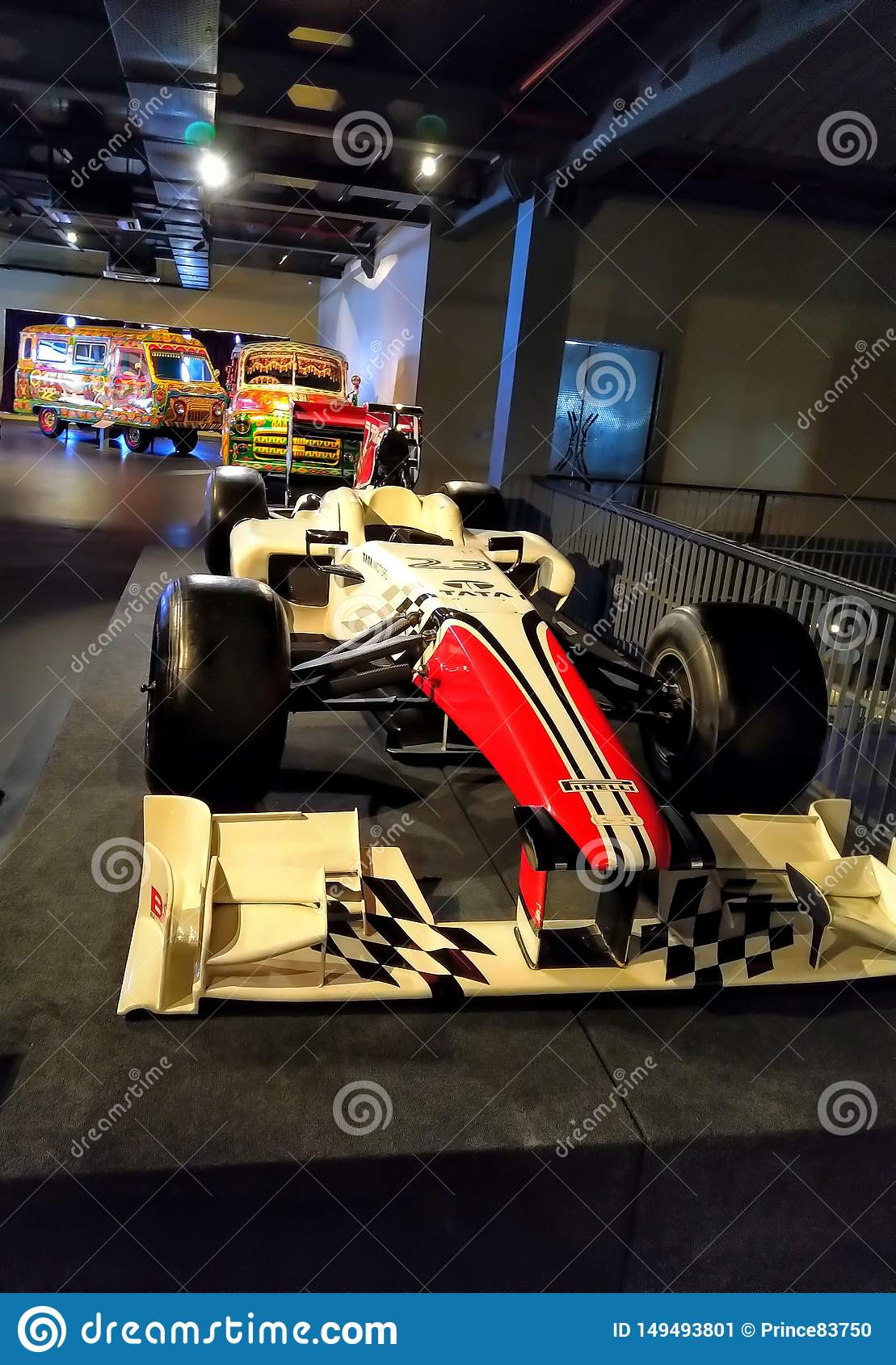 Old Retro vintage racing car show in museum. Red colour formula racing car.