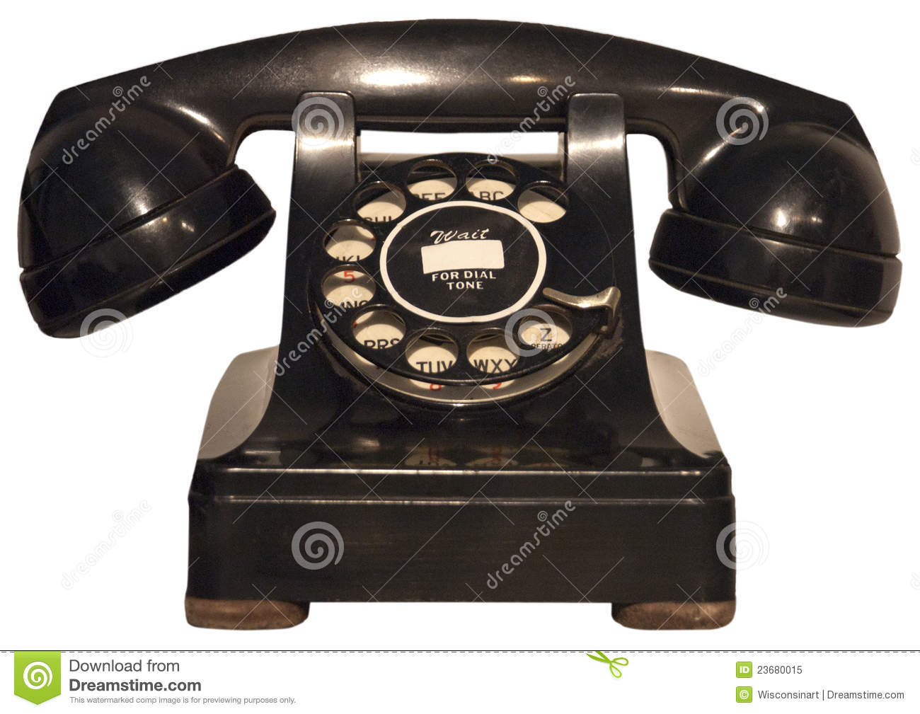 Imagen De Un Like: Old Retro Vintage Rotary Phone, Telephone Isolated Stock