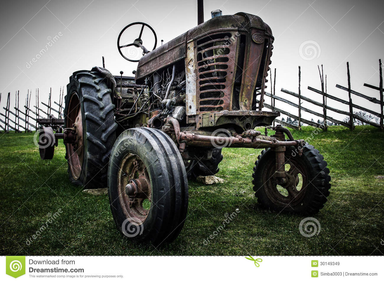 Old retro wheeled tractor