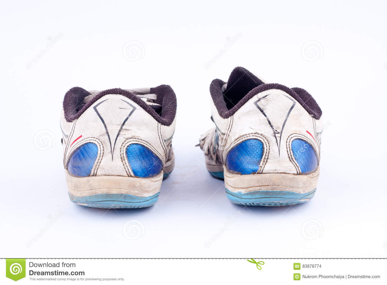 586c9a40629 Old Retro Worn Out Futsal Sports Shoes On White Background Back View Stock  Photo 83878774 - Megapixl