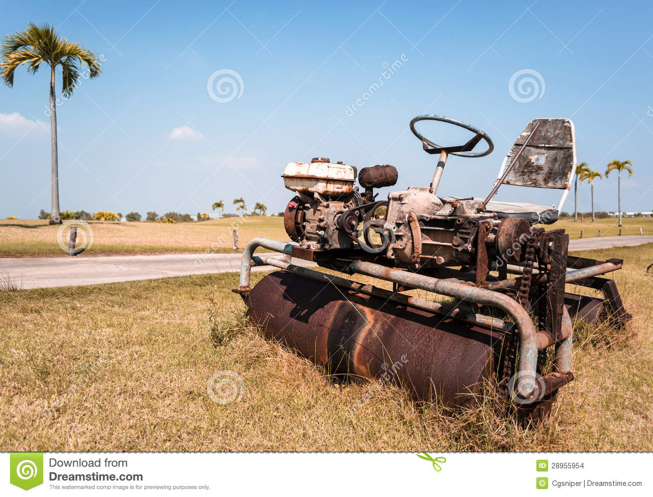 Old Ride-on Lawn Roller stock photo. Image of palm, machinery - 28955954