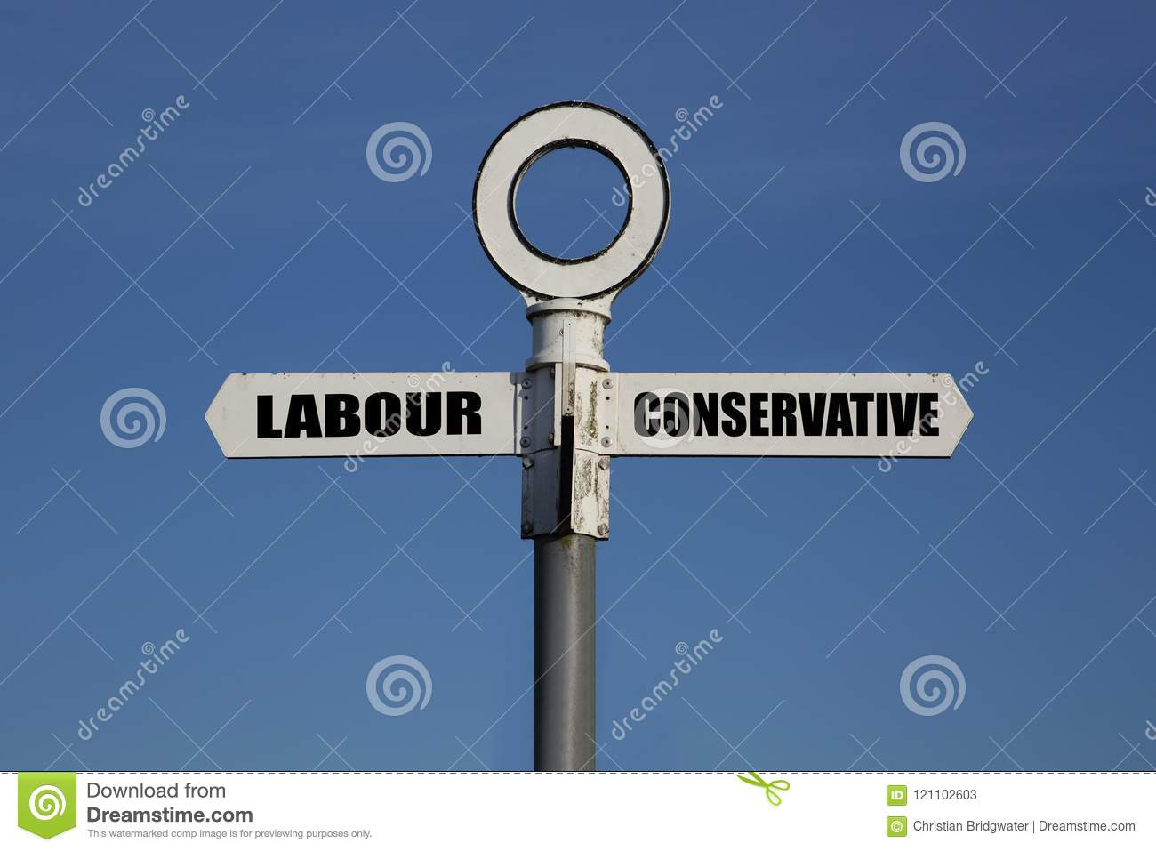 Old road sign with labour and conservative pointing in opposite directions