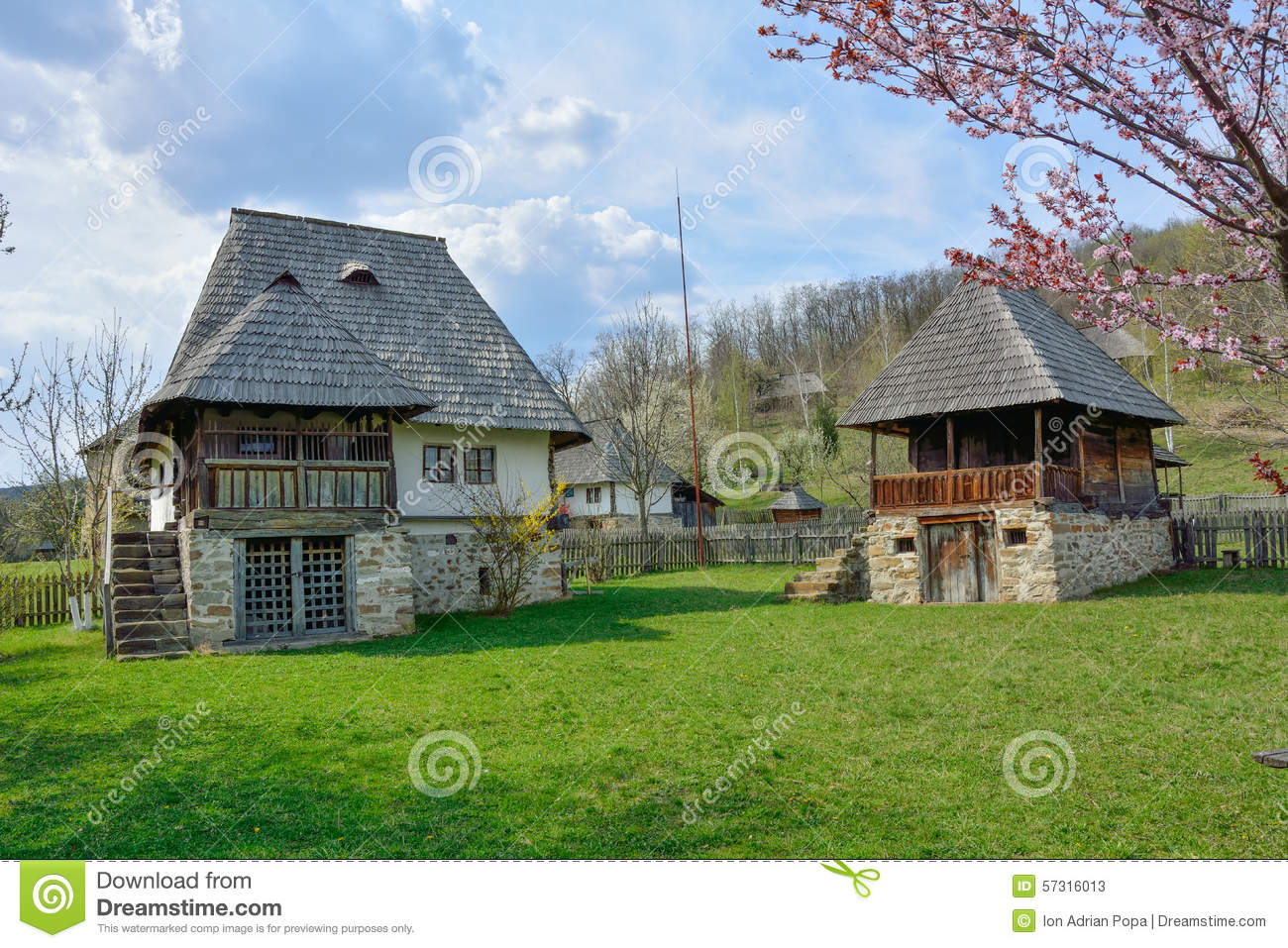 Old romanian peasant houses in village museum valcea romania stock image image 57316013 - Romanian peasant houses ...