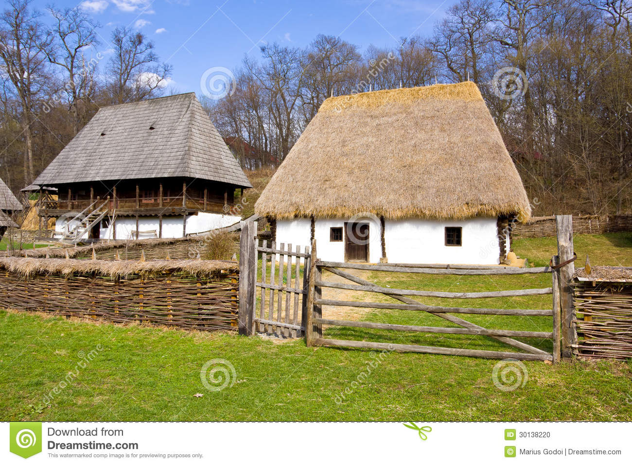 Group of romanian peasant houses stock photo image 30138220 - Romanian peasant houses ...