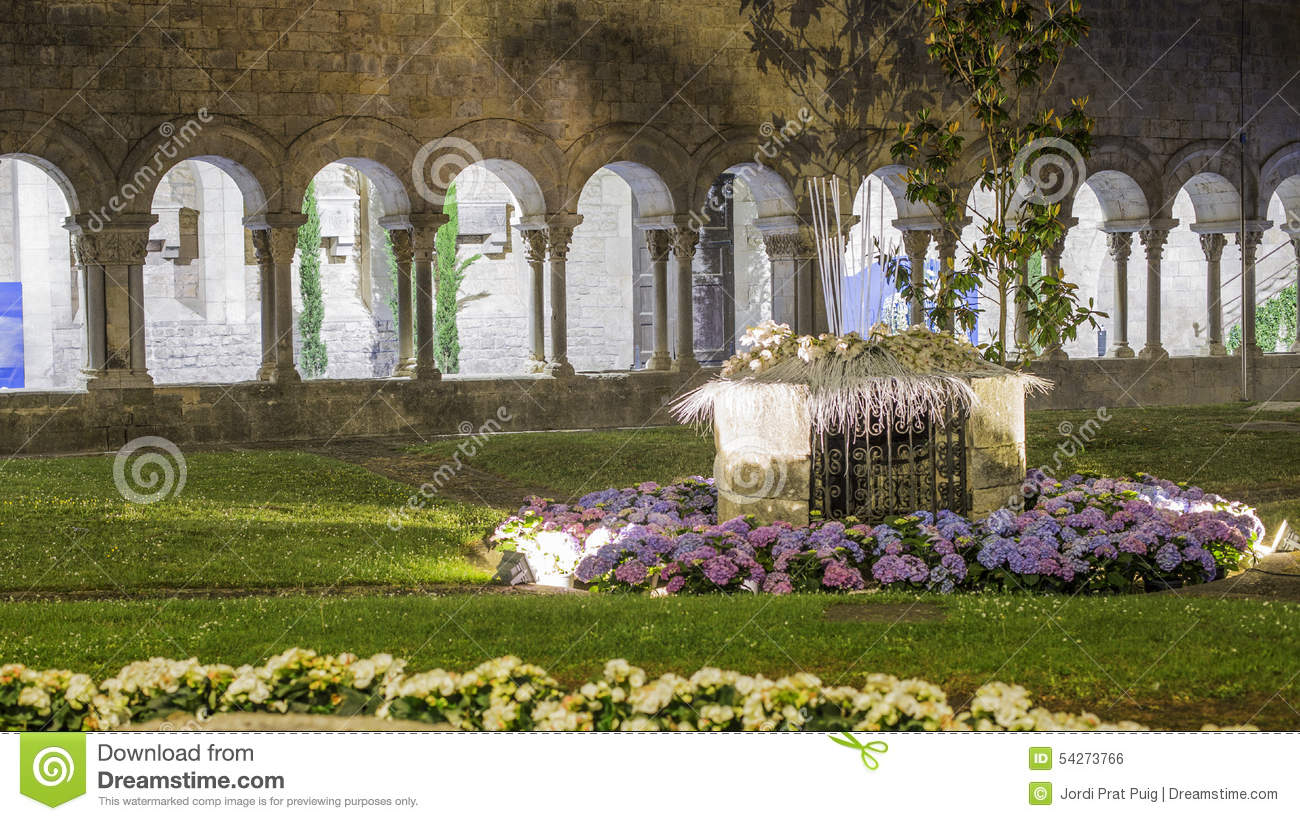 Old Romanic Garden Columns At Night In A Garden Stock Photo