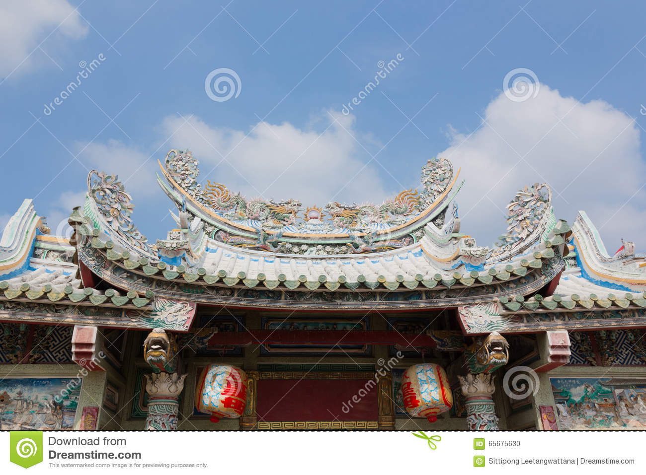 Old Roof Of Chinese Shrine