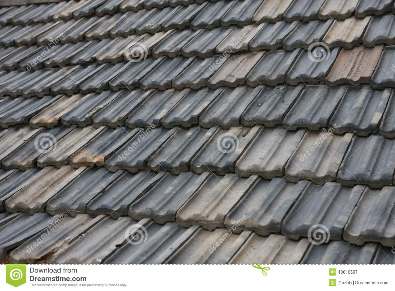 Old Roof Tile Of China Stock Image Image Of Raining