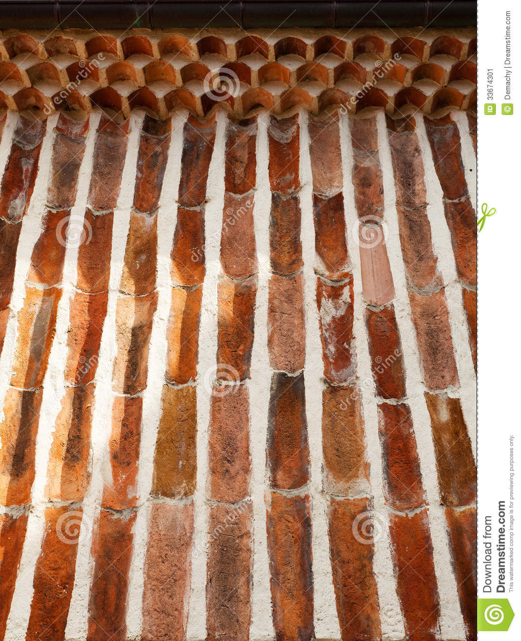 Old Roof Tiles Wall Stock Image Image 33674301