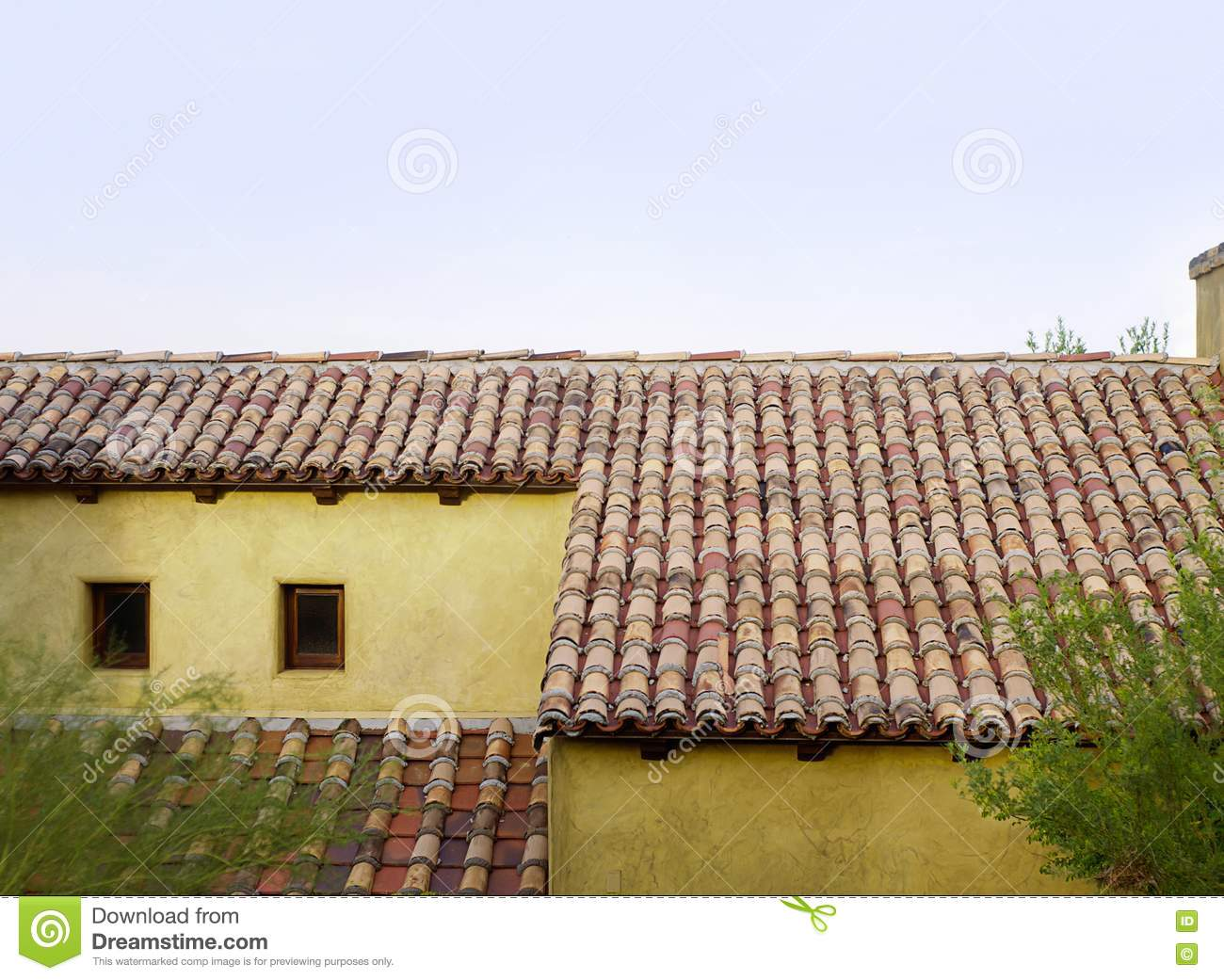 Old Roof Top Tiles On Old Home In Tuscany Stock Photo