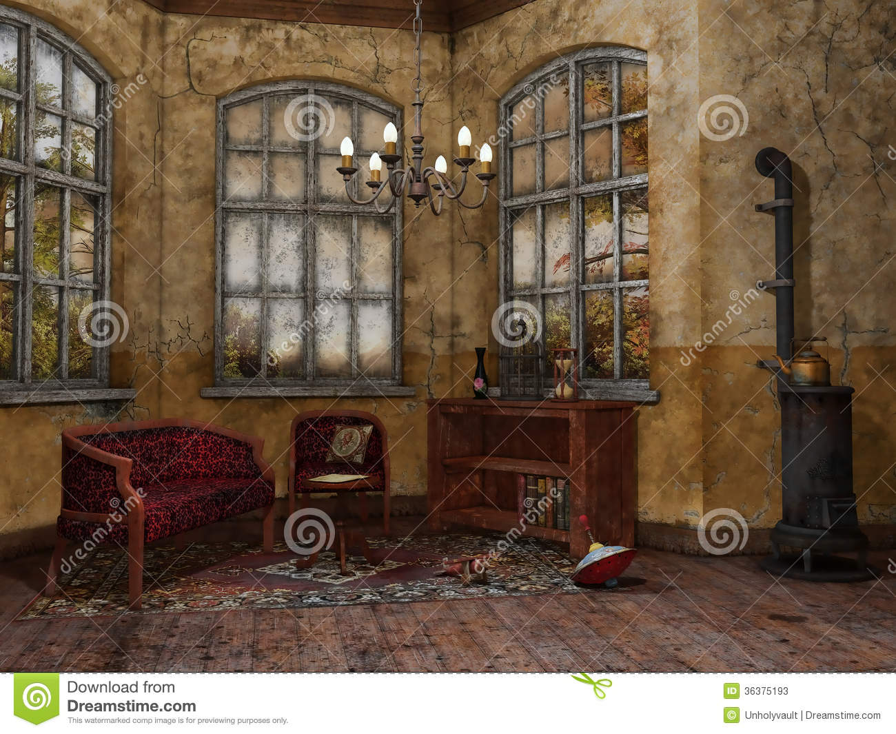 Old Room With A Chair And Sofa Stock Illustration
