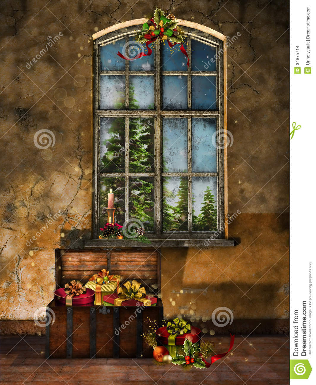 Old Room With Christmas Decorations Stock Images