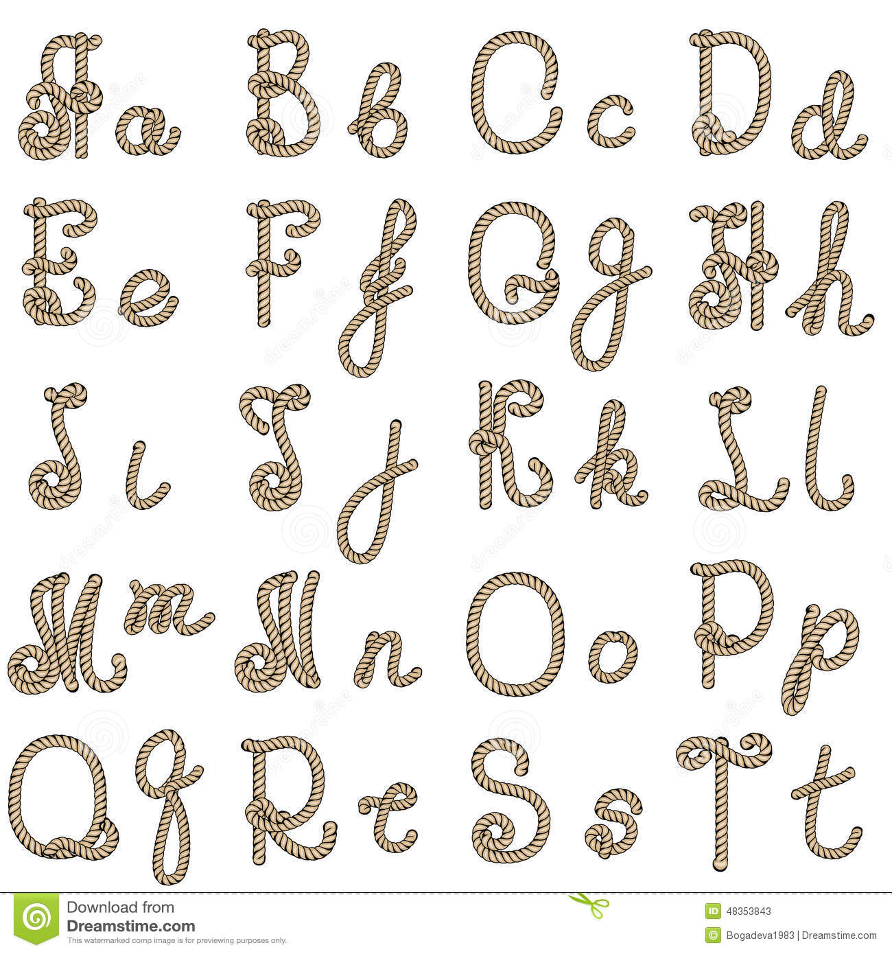 Old Rope Alphabet From A To T Stock Vector - Image: 48353843