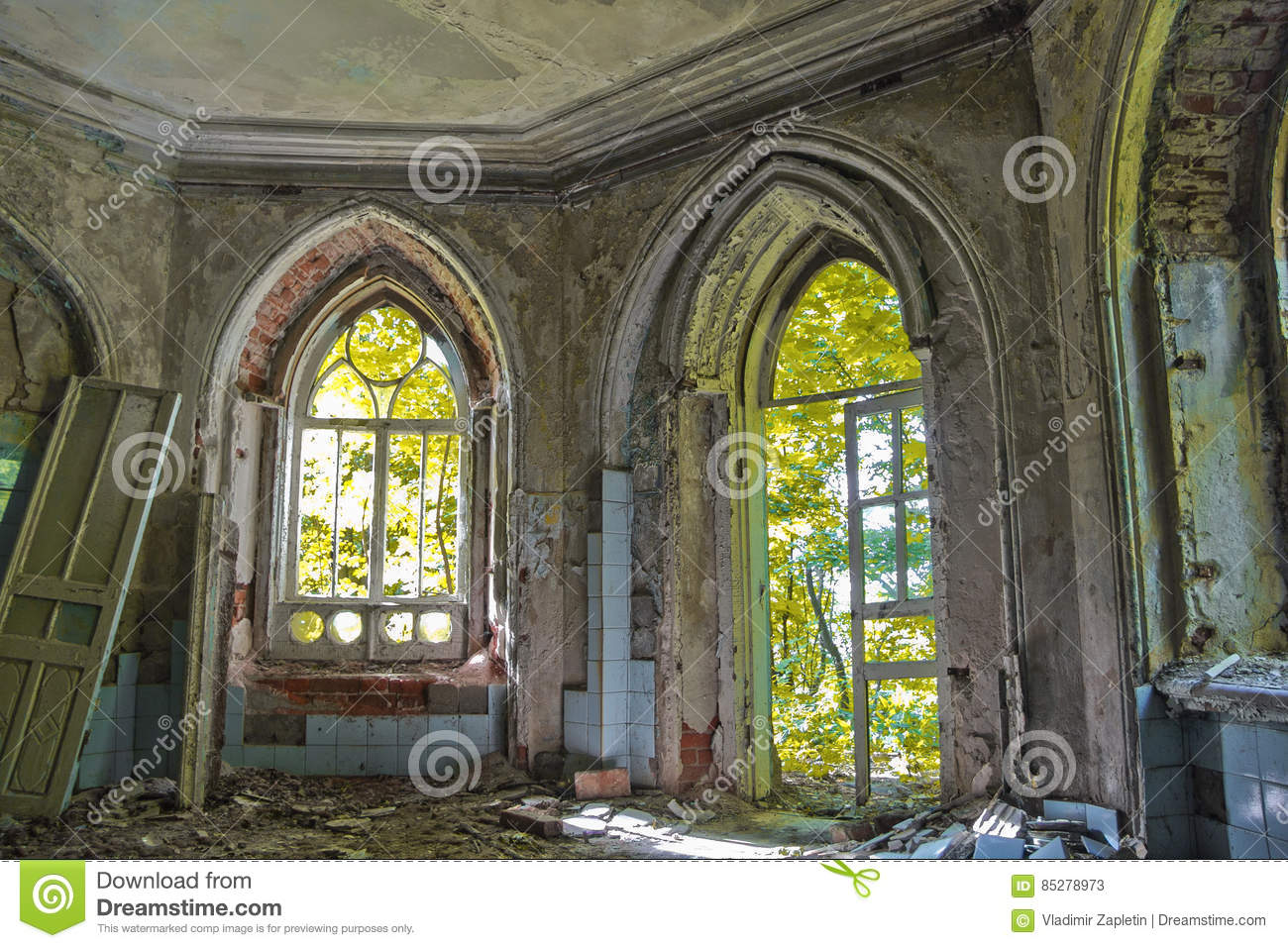 Old Rotten Doorway Of An Abandoned Mansion Khvostov In Gothic Style
