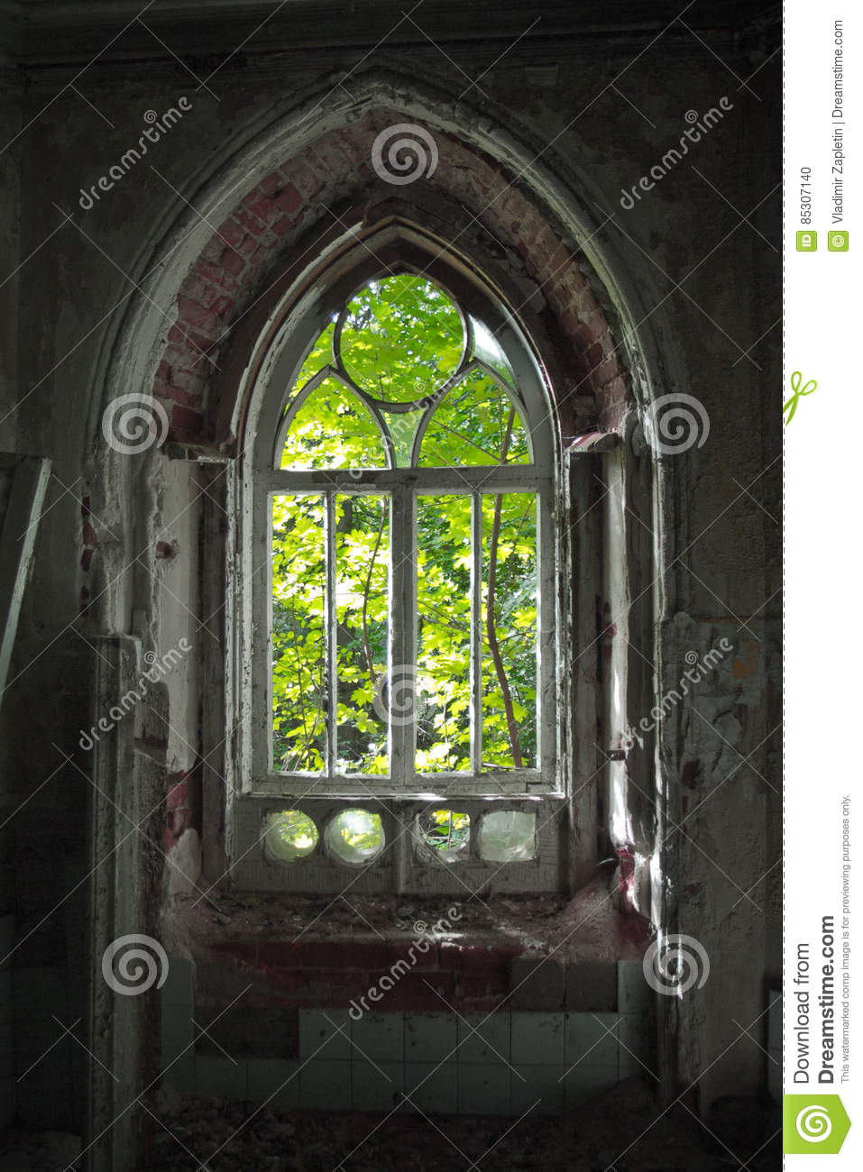 Download Old Rotten Doorway Of An Abandoned Mansion Khvostov In Gothic Style Stock Photo