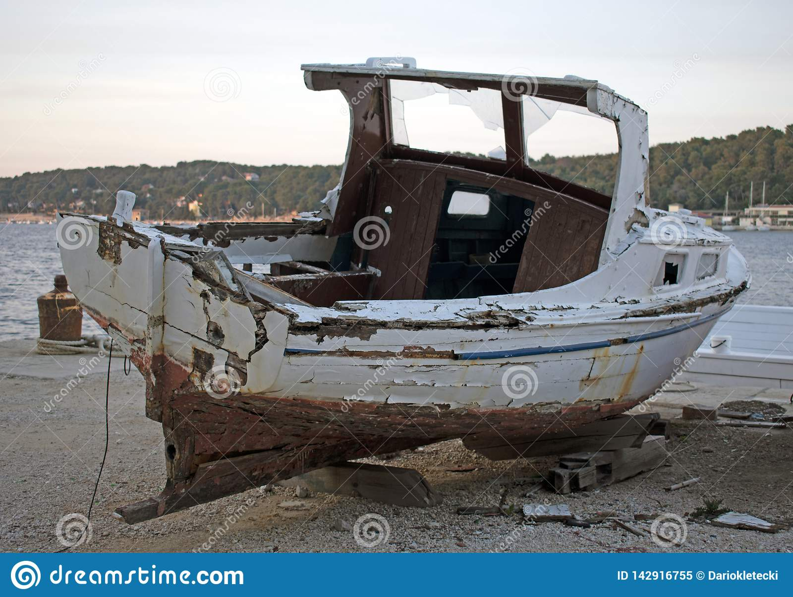 Old rotten wooden ship
