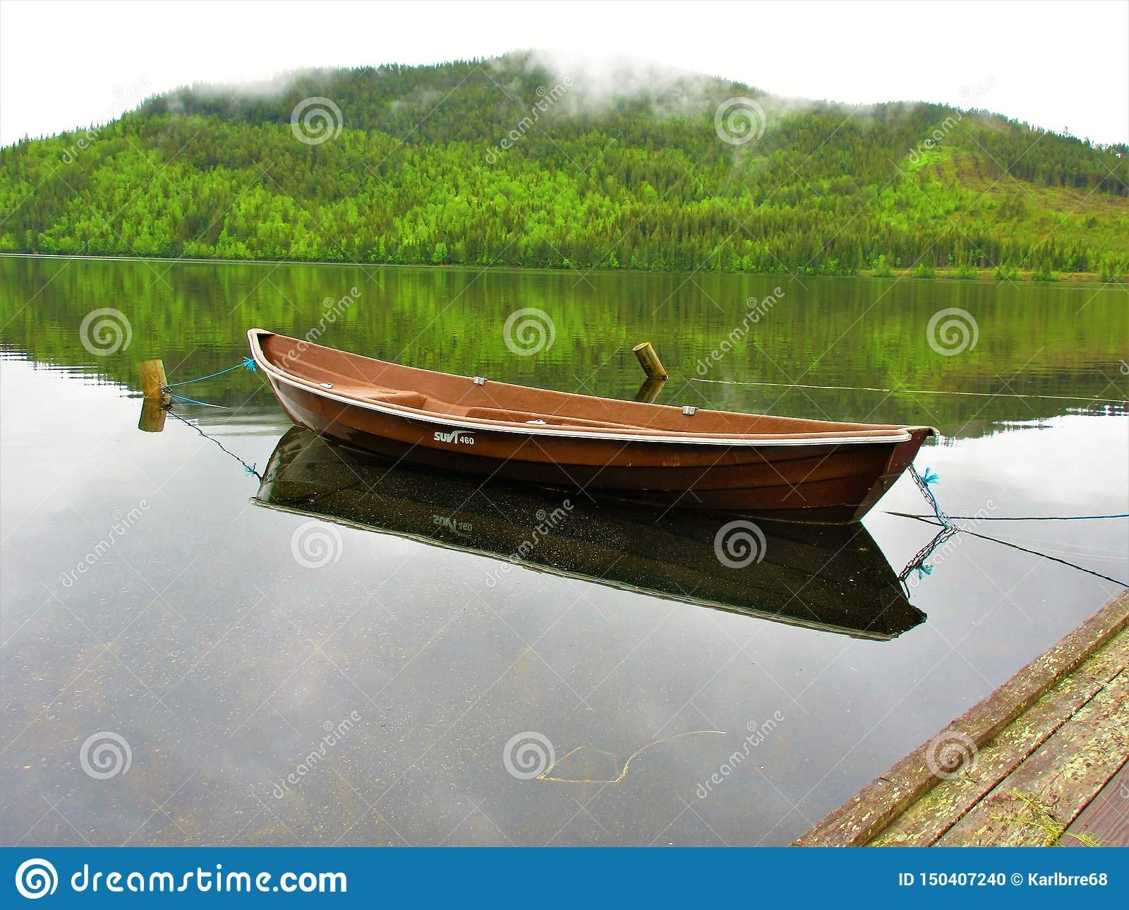 Brown row boat reflecting with the forest as a background