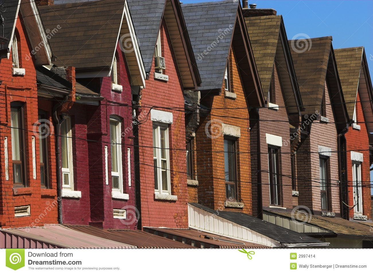 Old Row Houses Stock Photo Image Of Maroon Roof Pink