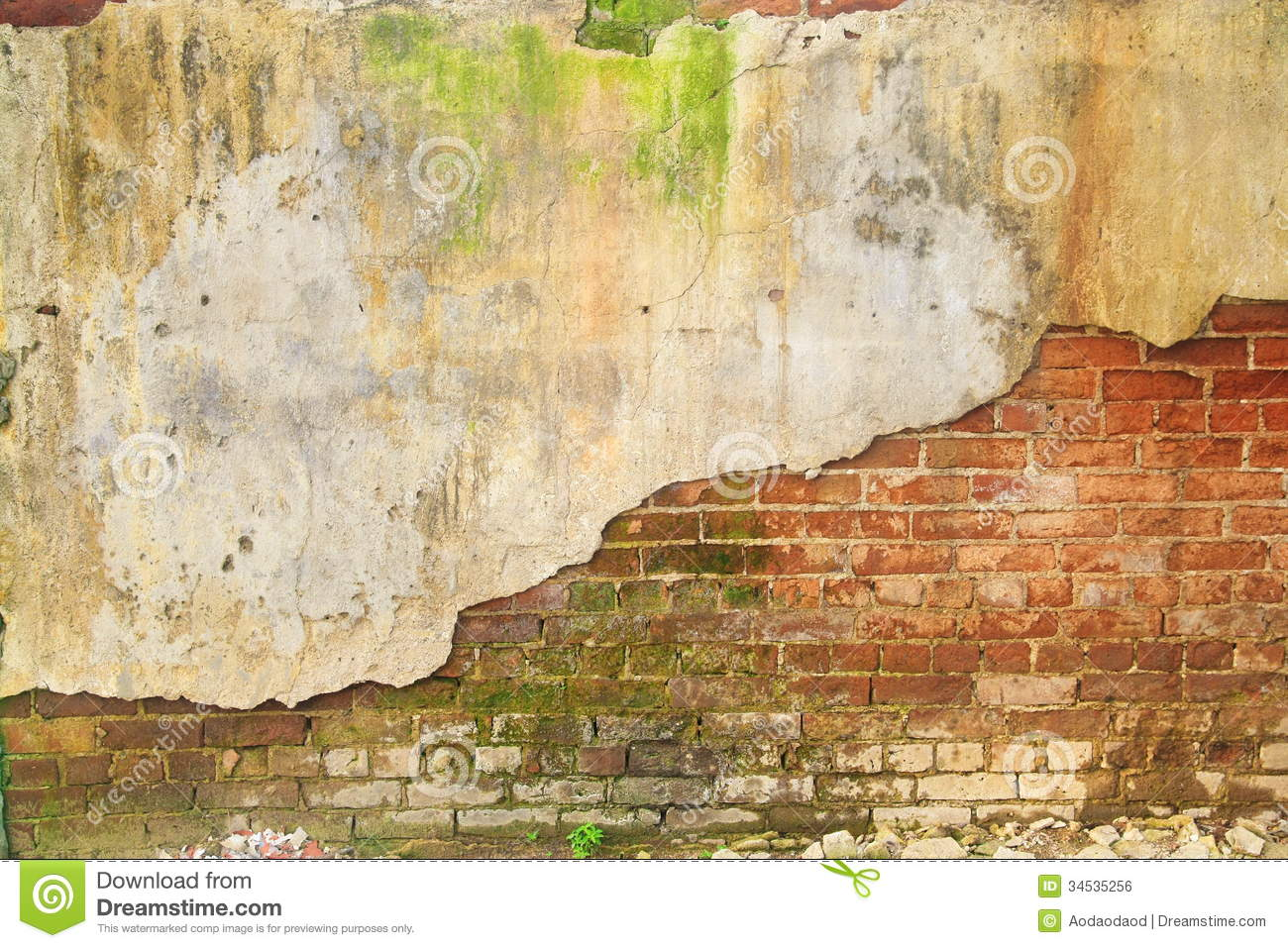 Old Ruin Brick Concrete Wall Royalty Free Stock Image
