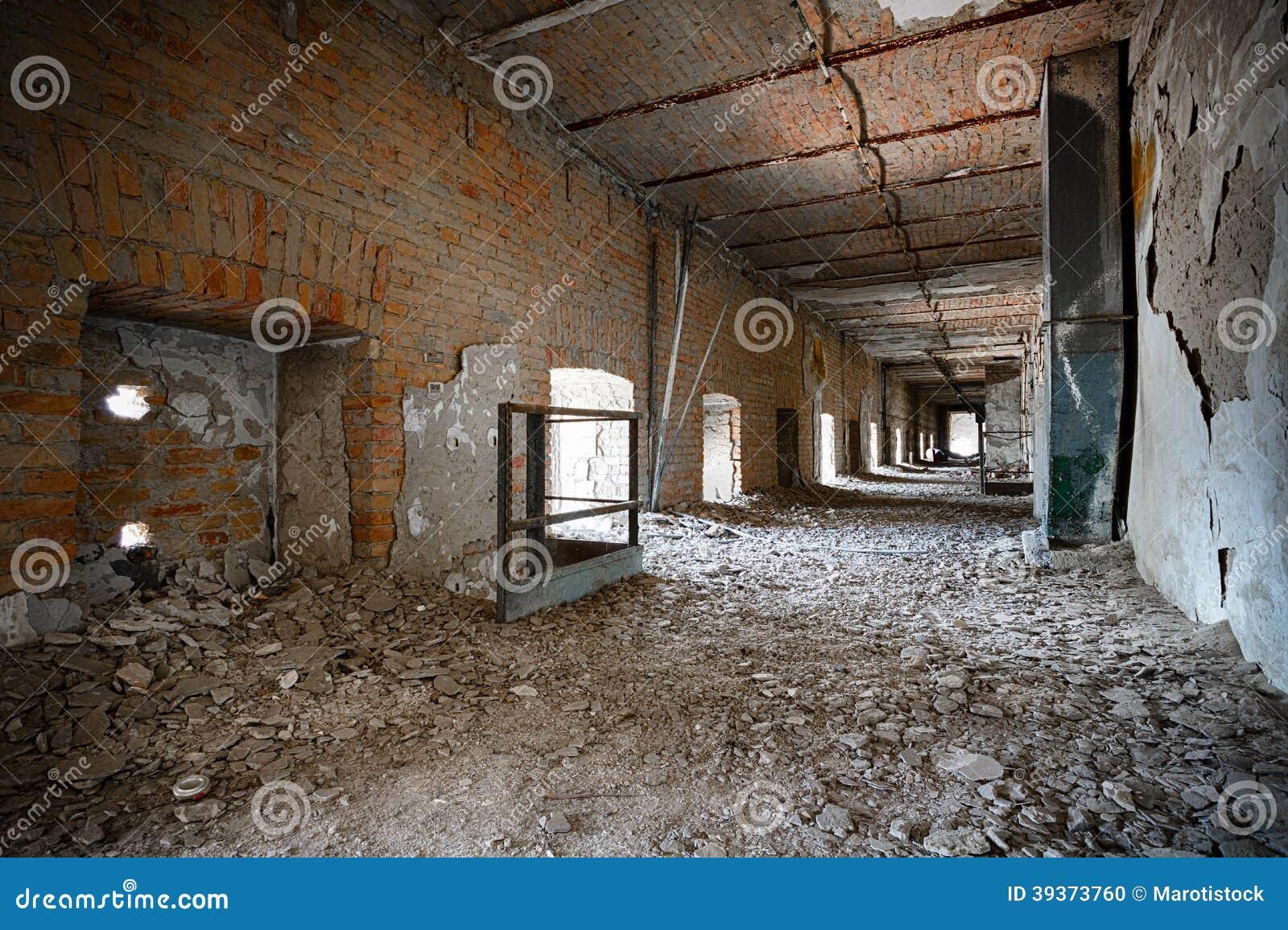 Corridor Roof Design: Old Ruined Industrial Building Corridor, Interior Stock